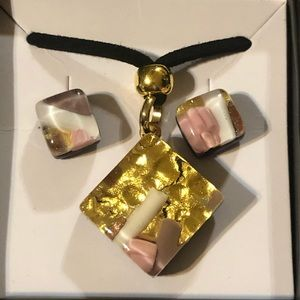 Authentic Murano Glass Necklace & Earring Set